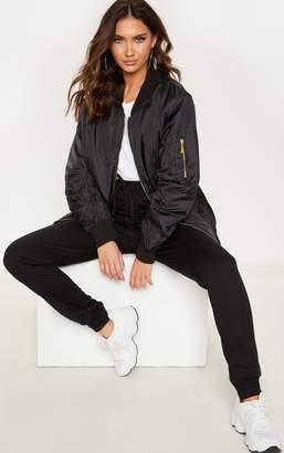 PrettyLittleThing Shelbi Black Longline Bomber Jacket