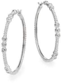 Effy Diamond & 14K White Gold Hoop Earrings/1.25""