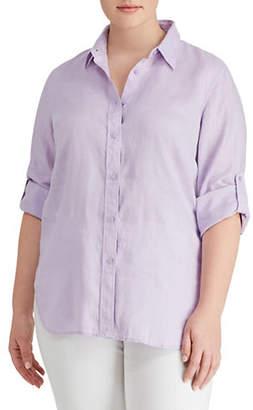 Lauren Ralph Lauren Plus Linen Button-Down Shirt