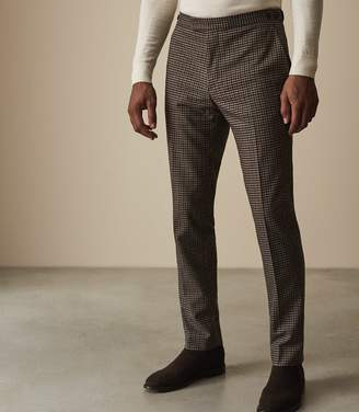 Reiss Our last order date for Christmas has now passed TRIPPER HOUNDSTOOTH CHECKED TROUSERS Brown