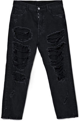 Unravel Project Distressed Oversized Jeans - Black