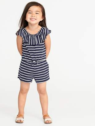 Old Navy Ruffle-Neck Jersey Romper for Toddler Girls