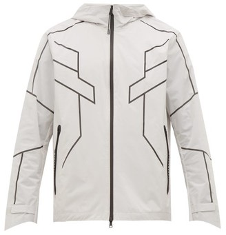 BLACKBARRETT by NEIL BARRETT Geometric Print Reflective Zip Through Jacket - Mens - Silver