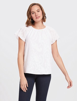 Draper James Embroidered Jacquard Gathered Top