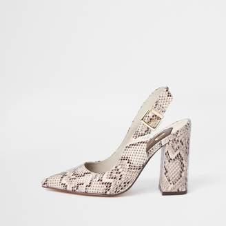 0435fa798f82f River Island Womens Beige snake print slingback court shoes