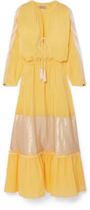 Zeus+Dione ZeusDione - Jackueline Paneled Silk-habotai Midi Dress - Yellow