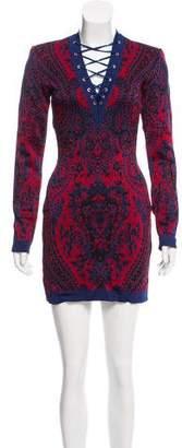 Balmain Lace-Up Jacquard Dress w/ Tags