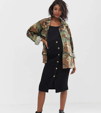 b5450a4f7f0 Mama Licious Mama.Licious Mamalicious maternity jersey button through midi  skirt