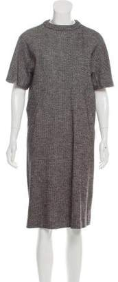 Tomas Maier Short Sleeve Wool-Blend Herringbone Dress