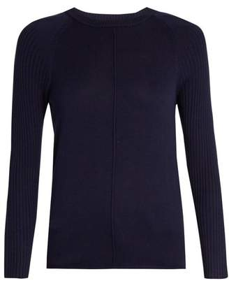 Frame Round Neck Silk And Cashmere Blend Sweater - Womens - Navy