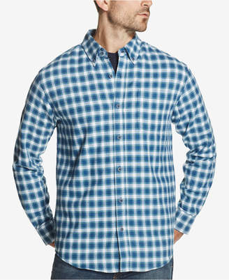 Weatherproof Vintage Men Plaid Brushed Flannel Pocket Shirt