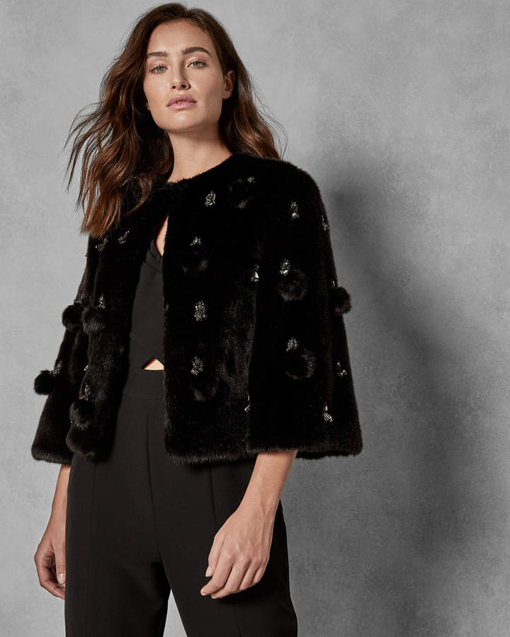 BILLIEE Embellished cropped faux fur jacket