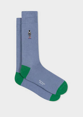 Paul Smith Men's Slate Blue 'People' Embroidered Socks