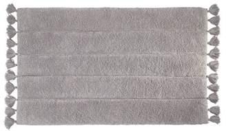 iDesign Tassel Cotton Bath Rug, Gray
