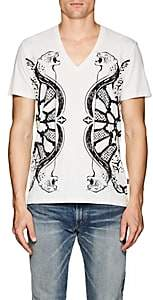 Just Cavalli MEN'S LEOPARD-PRINT COTTON T-SHIRT-WHITE SIZE S