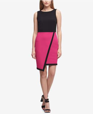 DKNY Asymmetric Colorblocked Scuba Sheath Dress, Created for Macy's
