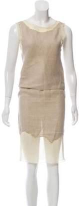 Prada Sleeveless Skirt Set Beige Sleeveless Skirt Set