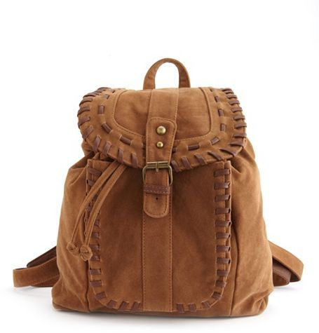 Charlotte Russe Woven Trim Sueded Backpack