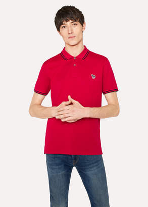 Paul Smith Men's Slim-Fit Red Zebra Logo Polo Shirt With Black Tipping
