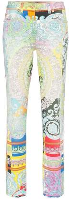Versace baroque print kick flare slim fit jeans