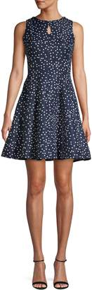 Gabby Skye Polka Dot-Print Sleeveless Fit--Flare Dress