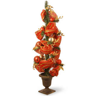Co NATIONAL TREE National Tree 4 Foot Red Ribbon & Gold Stripes Entrance Christmas Tree