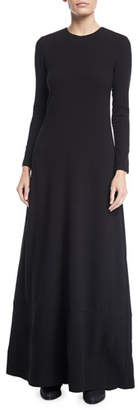Co Jewel-Neck Long-Sleeve Heavy Crepe Column Evening Gown