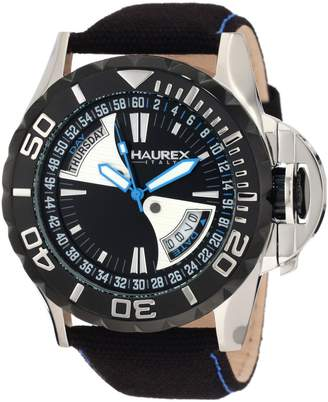 Haurex Italy Men's 8D365UNB Sea Day and Date Canvas Strap PVD Bezel Sport Watch