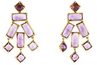 Kara Ross 18K Geometric Amethyst Earrings