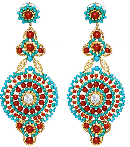 Miguel Ases Turquoise and Coral Chandelier Earrings