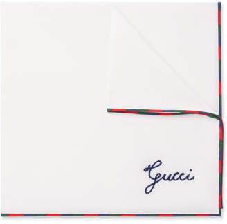 Gucci Embroidered Cotton Pocket Square - Men - White