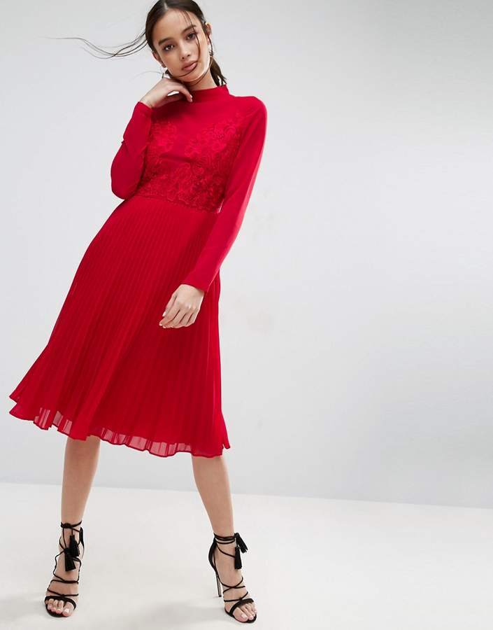 Asos ASOS High Neck and Lace Insert Pleated Midi Dress
