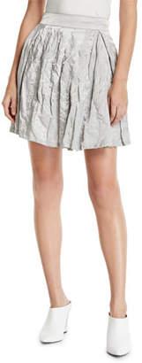 Emporio Armani Pleated Crinkled-Cotton Skirt