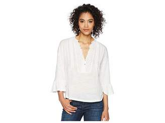 Lucky Brand Pintuck Peasant Top