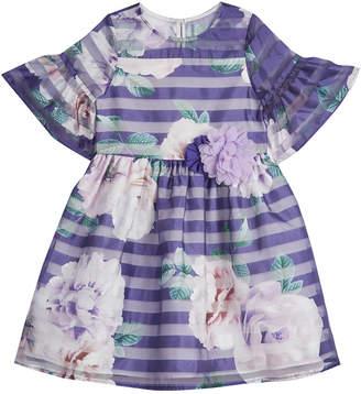 Laura Ashley Floral Shadow Stripe Dress