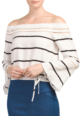 Off The Shoulder Stripe Ferrando Top $24.99 thestylecure.com