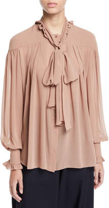 REJINA PYO Lynn Tie-neck Button-Down Blouse