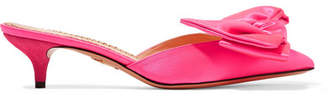 Charlotte Olympia Sophie Suede-trimmed Bow-embellished Satin Mules - Pink