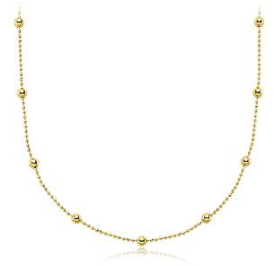 Station Bead Necklace in 18k Yellow Gold