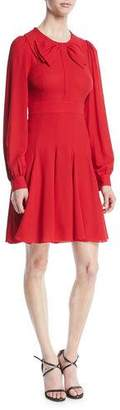 Michael Kors Bow-Front Long-Sleeve Fit-and-Flare Silk Georgette Dress