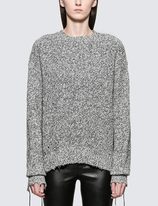 Helmut Lang Distressed Relaxed Long Sleeve Crewneck