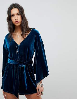 N. ebonie ivory Luxe Tie Waist Romper with Kimono Sleeves In Velvet