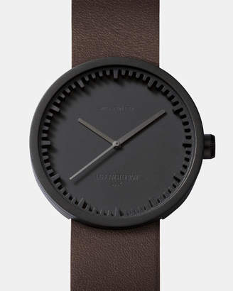 Tube Watch D38 Black with Brown Leather Strap