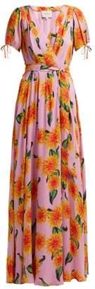 Carolina Herrera Dahlia Print Silk Gown - Womens - Pink Print