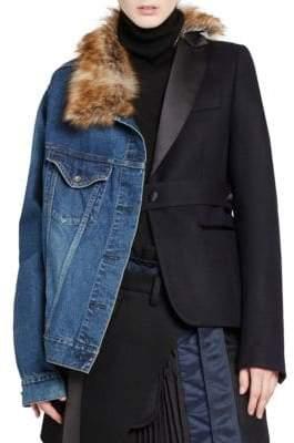 Sacai Faux Fur-Trim Denim& Blazer Jacket