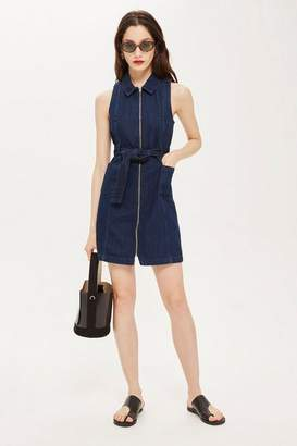 Topshop Zip-Up Denim Dress