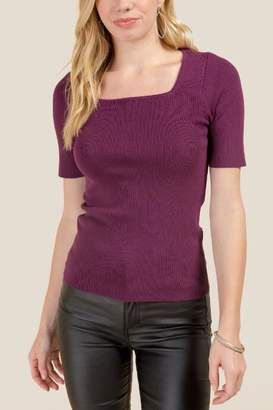 francesca's Rebecca Square Neck Fitted Tee - Purple