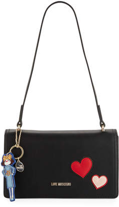 Love Moschino Hearts Shoulder Bag with Girl Charm