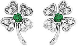 QVC Sterling Four-Leaf Crystal Clover Post Earrings