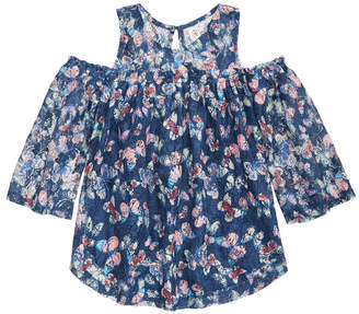 Beautees Butterfly-Print Cold-Shoulder Lace Top, Big Girls